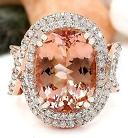 Luxury Women 18K Rose Gold Filled Morganite Wedding Engagement Gift Ring Jewelry