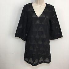 LISA PERRY Black geometric print Sheer textured cotton Dress Tunic US 2 Mod