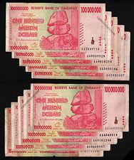 100 Million Zimbabwe Dollars x 10 Banknotes AA 2008 10PCS Fine/VF *Pre Trillion