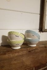 Rae Dunn Set Of 4 Bowls Polka Dot Footed~Eat/Snack~Blue•Green New