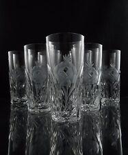 Vintage Floral Etch Lead Crystal Highball Tumbler Glasses, Set of (7),