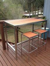 CUSTOM MADE BRAND NEW STAINLESS STEEL TIMBER BAR TABLE SETTING WITH STOOLS