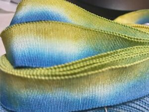 "Vintage Cotton Rayon 7/8"" Petersham Ribbon Canary Blue 1yd Made in France"