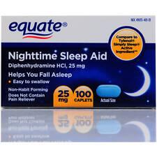 Equate Nighttime Sleep Aid 25mg 100 Mini-Caplets - Diphenhydramine HCI Exp 08/19