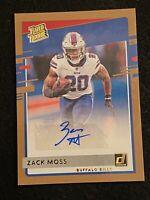 2020 Donruss Zack Moss Rated Rookie Bronze Auto Buffalo Bills #330