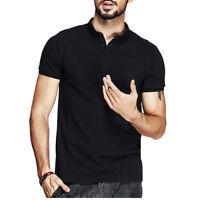 KUEGOU Men's Chic Polo T-shirt Cotton Short Sleeve Slim Fit Summer Casual Shirts