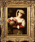 19th CENTURY LARGE ITALIAN OIL ON CANVAS - GIRL WATERING FLOWERS - SUPERB