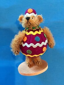 "DEB CANHAM  ""EGGBERT-- 3"" BROWN MOHAIR BEAR DRESSED AS PURPLE EASTER EGG"