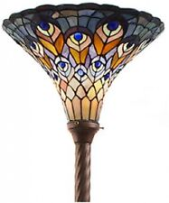 Tiffany Style Stained Glass Floor Lamp Peacock Vintage Torchiere Lighting Decor