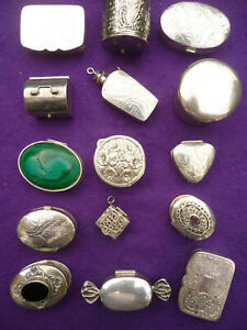 A SUPERB COLLECTION OF ANTIQUE & VINTAGE SILVER PILL BOXES