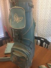 Vintage Pga Women's Golf Bag Blue/ White Butterflies + Matching Bag +club covers
