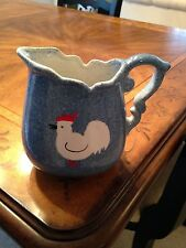 VINTAGE BLUE CALICO SPONGE WARE PITCHER WITH ROOSTER