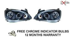 VAUXHALL CORSA C 2000-2006 BLACK PROJECTOR TWIN ANGEL EYE LED HALO HEADLIGHTS