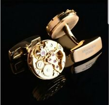 NEW QUARTZ STAINLESS STEEL GOLD TONED WATCH MOVEMENT IMITATION CUFFLINKS