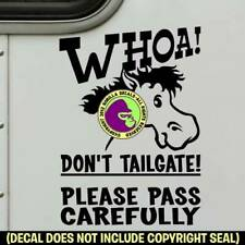 Whoa Cartoon Horse Trailer Sign Decal Sticker Back Door Caution Tailgating Blk