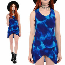 Vtg 90s Seapunk TIE DYE Mini Dress Grunge Festival Hippie Psychedelic Tunic Top