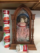 Antique Wax Over Doll With Skates Clock Display Case Glass Eyes