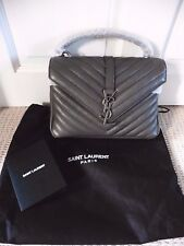 YSL Yves Saint Laurent Medium College Monogram Bag. Anthracite Grey. BNWT