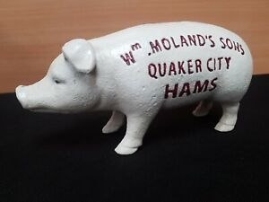 NEW ** VINTAGE STYLE ** CAST IRON BUTCHERS PIG TIPS MONEY BOX QUAKER CITY HAMS