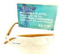 READING EYEGLASSES Eco Friendly Bamboo BLUE PLANET Designer Men Women 3.00 White