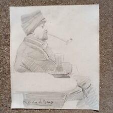 Constantin LE ROUX (1850-1909)  PORTRAIT D'HOMME À LA PIPE DESSIN XIXe Normandie