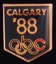 abc Olympic Media Pin Badge ~ 1988 ~ Calgary ~ Black~New in original packaging!!
