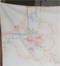86 X 86 Tablecloth Hand Embroidery Floral Roses Gorgeous W/ 12 Napkins