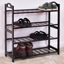 4-Tier Bamboo Shoe Rack Entryway Shoe Shelf Storage Organizer Home Furni Black