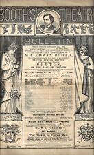 """Edwin Booth """"BRUTUS"""" or """"The Fall of Tarquin"""" 1873 Booth's Theatre Program"""
