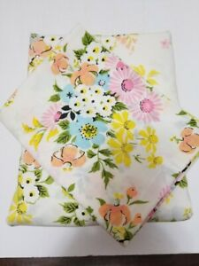 Vintage Floral Royal Cannon Twin Flat and Twin Fitted Sheet Set