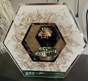 New & Boxed Golden Honeycomb Bee Hexagon Glass Tea Light Holder ~ Gift