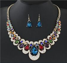 CHUNKY MULTI-COLOURED ENCRUSTED DIAMANTE CRYSTALTEAR DROP NECKLACE & EARRING SET