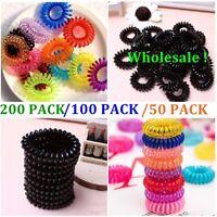 200/100/50 Women Ladies Girls Elastic Rubber Telephone Wire Hair Ties Hair Band