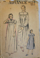 Vintage ADVANCE #6258 Sewing Pattern - Misses Night Gowns, 3 Styles, Size 14