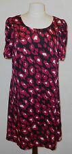 womens size14 red /white/black animal print short sleeve satin look /tunic/dress