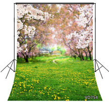 Spring Nature Pink Sakura Grass & Flowers 5x7ft Backdrop Vinyl Photo Background