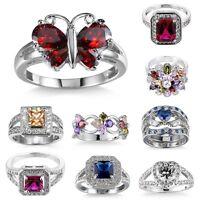 Stunning Amethyst Sapphire 925 Solid Silver White Gold Wedding Ring Women Sz6-10