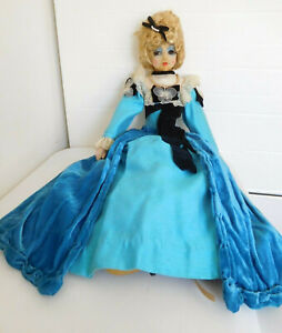 """Antique French 28"""" Silk Cloth Bed Boudoir Doll All Original Clothes, Shoes, Lash"""