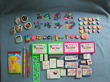 Vgt Lisa Frank 60+ Lot Notebook Ink Pad Rubber Stamps Pencils, Erasers Confetti