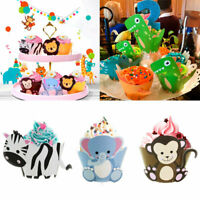 12pcs Baby Shower Dinosaur Cake Wrapper Toppers Animals Cupcake Birthday Supply