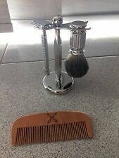 Stainless Steel Shaving Kit Razor Brush Stand And Comb Razor Blade Included