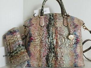 🌹Brahmin Duxbury Dome Satchel Opal Croc Rainbow Leather Bag+CB Wallet NWT***HTF