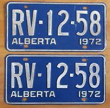 Alberta 1972 License Plate PAIR # RV-12-58