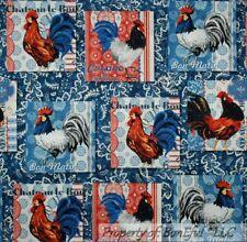 BonEful Fabric FQ Cotton Quilt Blue Red White Chicken Rooster Kitchen Patchwork