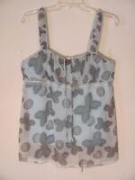 Jordache Junior Women's Shirt Top Size Large L Blue Butterfly Sleeveless