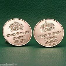 Sweden Bronze Vintage Coin Cufflinks, Swedish Sverige 5 Ore King Gustaf VI Adolf