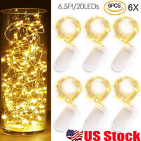 6Pack 2M 20LEDs Waterproof LED MICRO Silver Copper Wire String Fairy Lights Deco