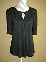 Ella Moss black rayon/nylon gathered ruched elbow puffy sleeves keyhole top S