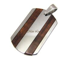 Hawaiian Koa Wood Vertical Plate Stainless Steel Unisex Pendant
