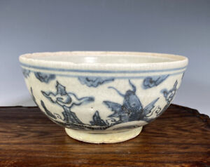 Antique Chinese Blue And White Porcelain Catfish Bowl Swatow Ming Dynasty